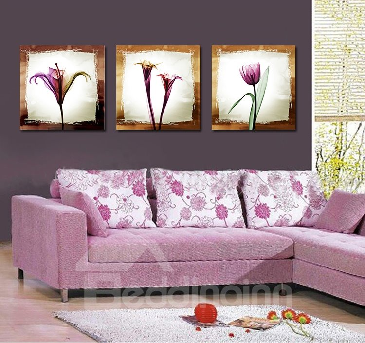 Pretty Elegant Purple Flowers Film Art Wall Prints