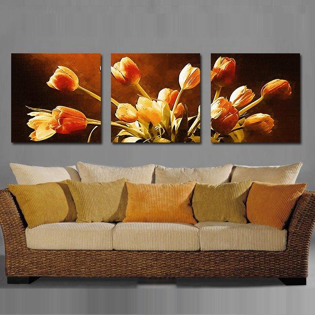 Splendid Beautiful Flowers Pattern 3 Pieces None Framed Wall Art Prints