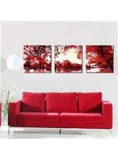 Flourished Maple Beside Lake Film Art Wall Prints