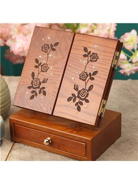 Top Quality Classical Solid Wood Folded III-Sides Rose Cosmetic Mirror