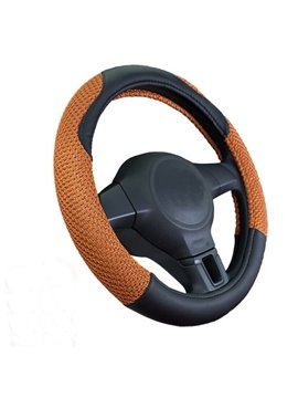 Hot Selling Ice Silk mixed with Leather Steering Wheel Cover