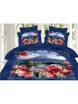 Beautiful Lake with Flower Border Print 4-Piece 3D Duvet Cover Sets