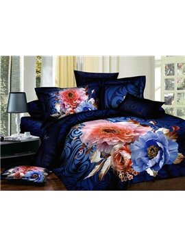 Amazing Pink and Blue Flower Print 4-Piece 3D Duvet Cover Sets