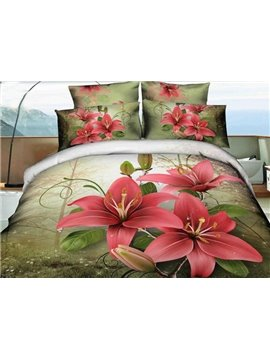 Adorable Flower in Forest Print 4-Piece 3D Duvet Cover Sets