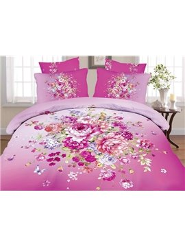 Alluring Beautiful Flower and Butterfly Print 4-Piece Cotton Duvet Cover Sets