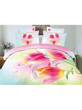 Wonderful Melodies of Tulip Print 4-Piece Cotton Duvet Cover Sets