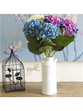 High Quality Silk Cloth Decorative Single Artificial Big-leaf Hydrangea Flowers
