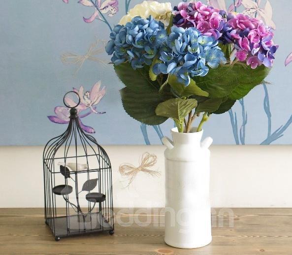 High Quality Silk Cloth Decorative Single Artificial Big-leaf Hydrangea Flowers