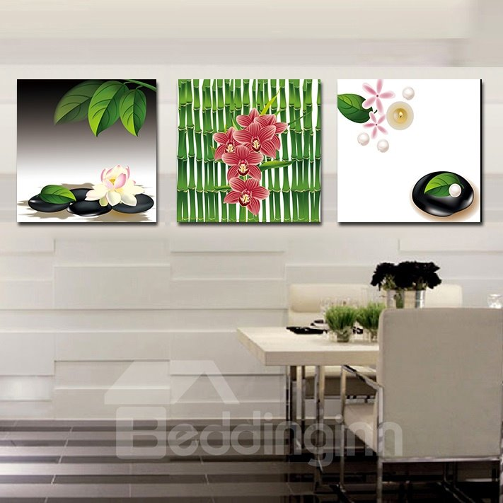 Adorable Flowers and Green Leaves Film Art Wall Print