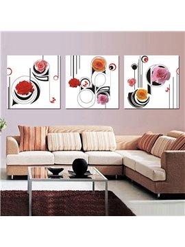 Adorable Flowers and Geometric Figure Film Art Wall Print