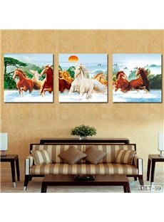 Prancing Horses and Fancy Sunrise Film Art Wall Print
