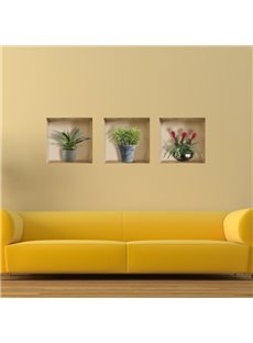 Amusing Beautiful Flower Vases Pattern 3-Piece Pattern 3D Wall Stickers
