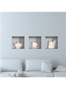 Simple Style Amazing 3D Tea Set Pattern Wall Stickers