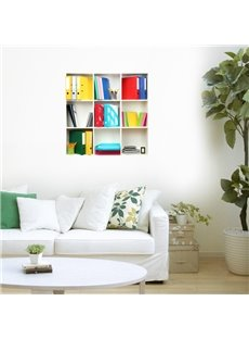 Stunning 3D Folder and Shelf Pattern Wall Stickers
