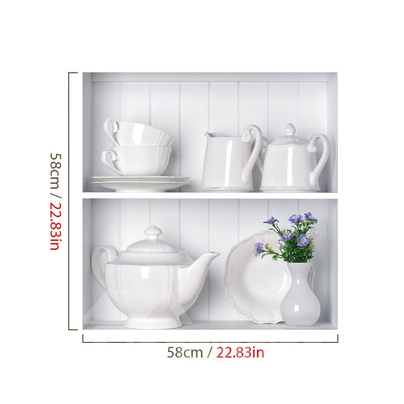 Stunning 3D Tea Set and Flower Vase Pattern Wall Stickers