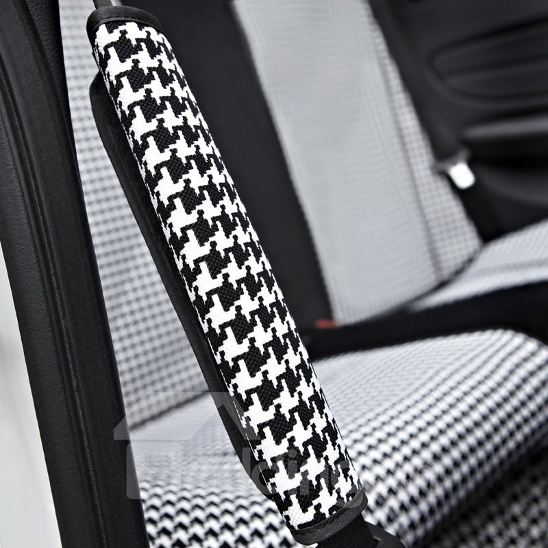 Fashionable Black and White Checker Car Seat Belt Cover