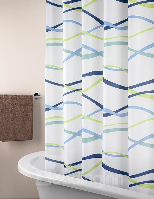 New Arrival Fabulous Colorful Ribbon Printing Shower Curtain