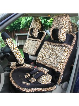 Fashionable Short Plush Leopard Car Seat Cover