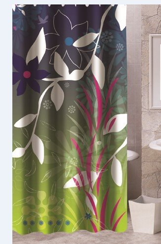 New Arrival Graceful Leaves Printing Polyester Shower Curtain