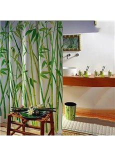 Unique Elegant Bamboo Forest Printing Shower Curtain