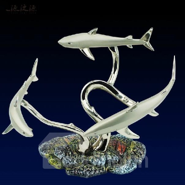 New Arrival Graceful European Silver Colored Enamel Shark Wine Rack
