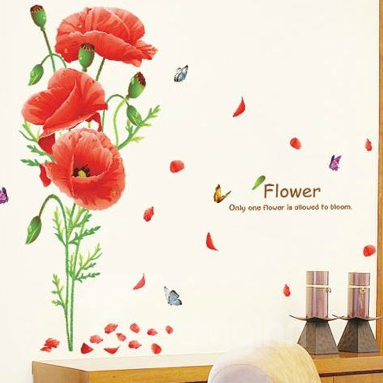 New Arrival Beautiful Red Flowers Wall Stickers