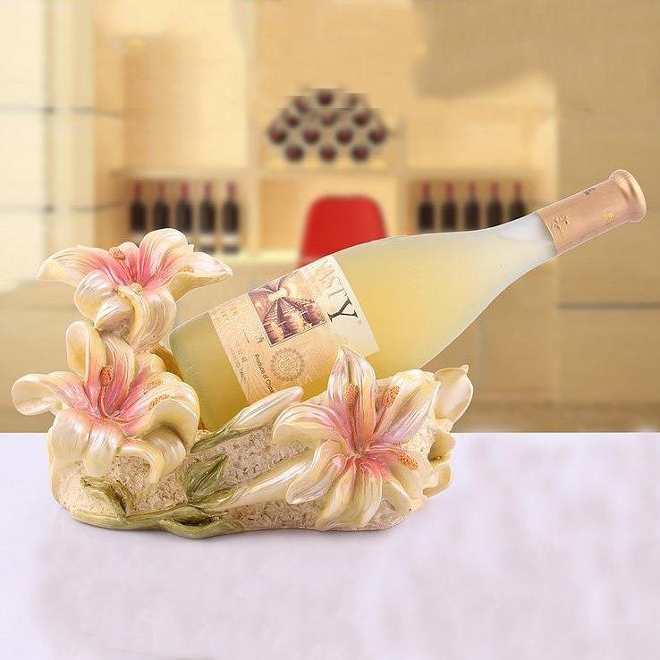 New Arrival Graceful Lily European Creative Resin Wine Rack