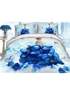 Amazing Rose and Diamond Dress Print 100% Cotton 3D Duvet Cover Sets