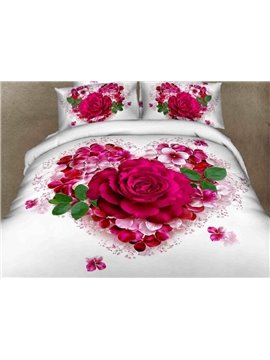 Very Beautiful Love of Rose Print 100% Cotton 3D Duvet Cover Sets