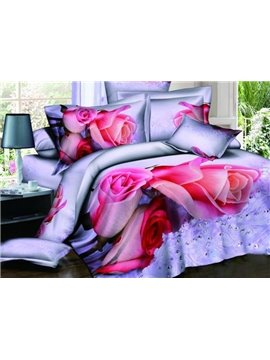 Charming Pink Roses Print 100% Cotton 3D Duvet Cover Sets