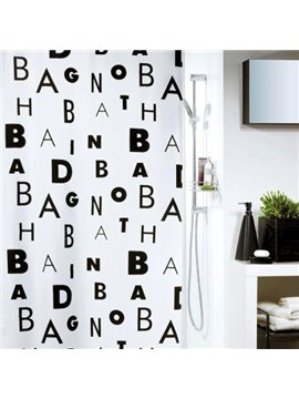 New Arrival Concise Alphabet Printing Shower Curtain
