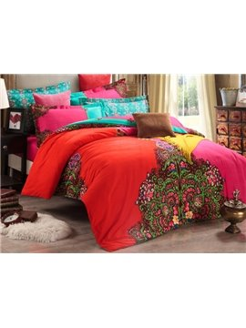 Comfortable Exotic Crescent Embroidered Cotton Duvet Cover Sets