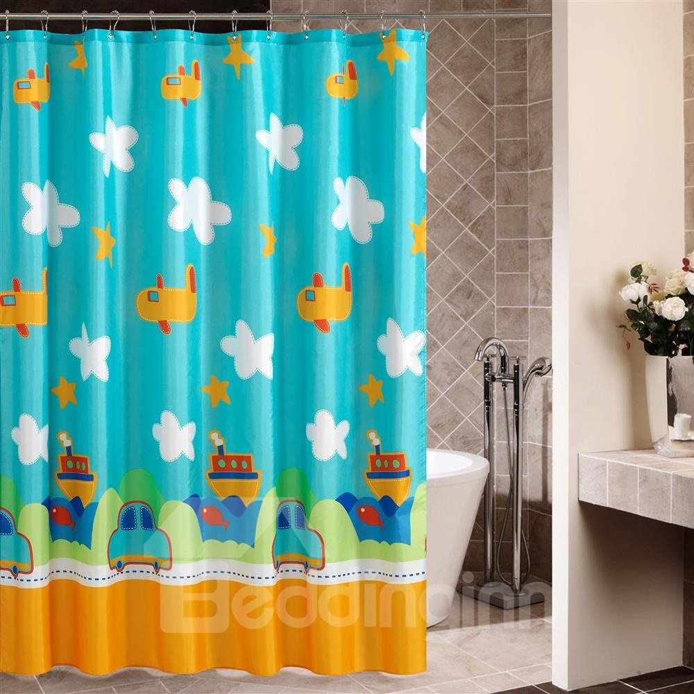 New Arrival Cartoon Planes And Cars Printing Shower Curtain