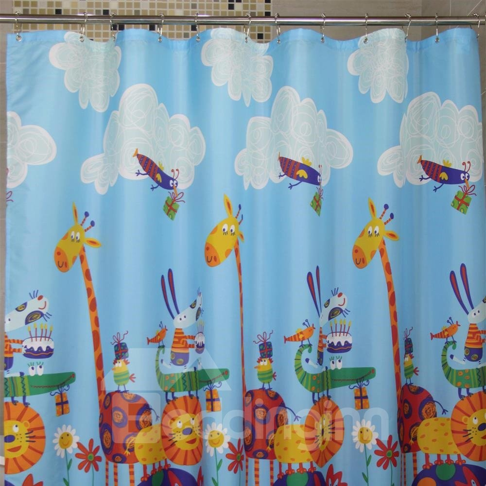 New Arrival Cartoon Animal Sports Meet Printing Shower Curtain