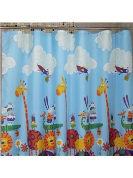 New Arrival Cartoon Animal Sports Meet Printing Shower Curtain