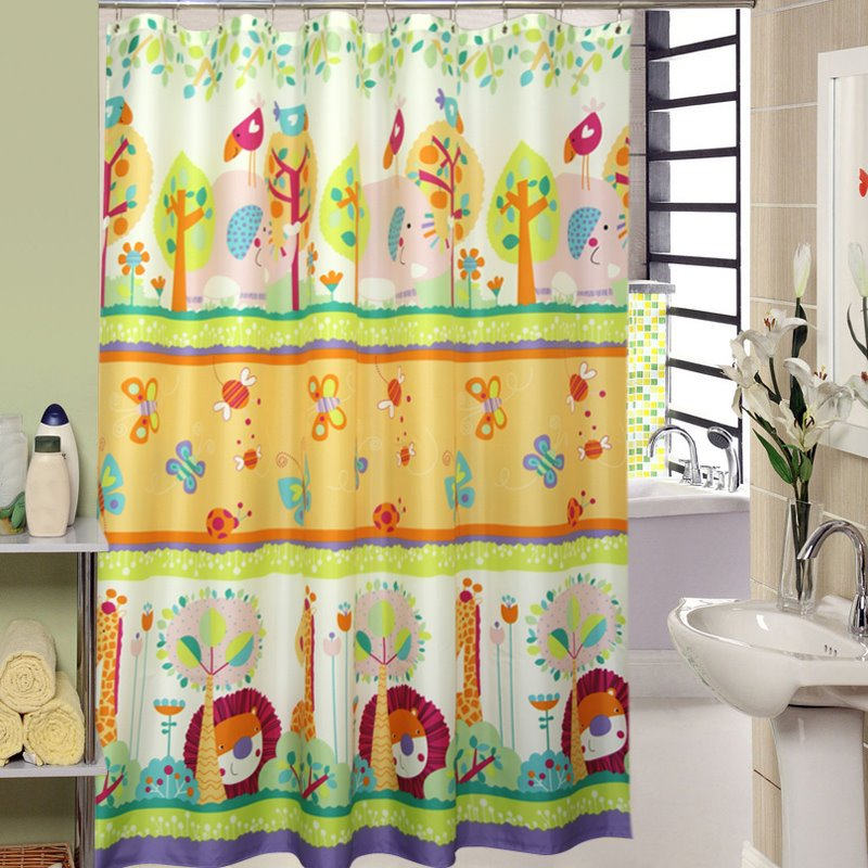 High Quality Cartoon Animals Printing Shower Curtain