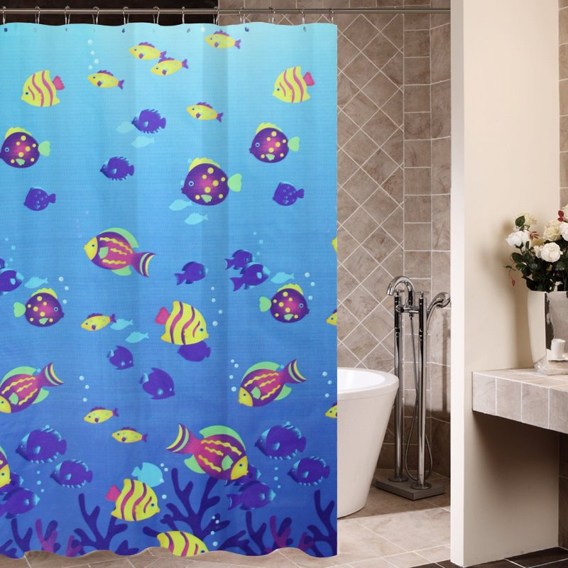 New Arrival Blue Ocean Scene Printing Shower Curtain