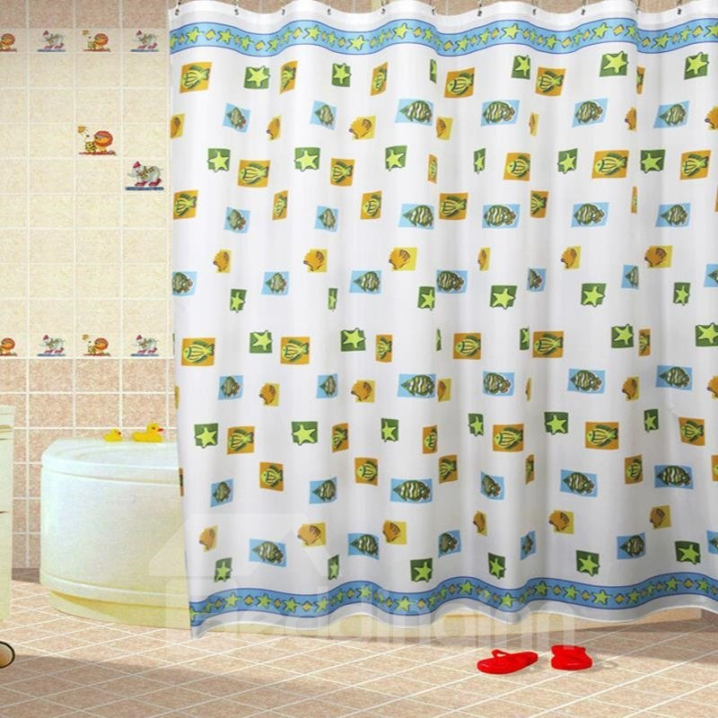 New Arrival Cute Fishes Stars Shell Printing Shower Curtain