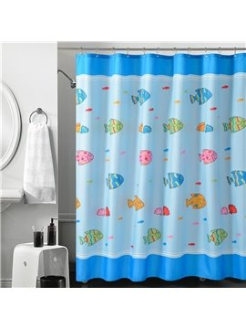 New Arrival Cartoon Ocean  Fishes Printing Shower Curtain