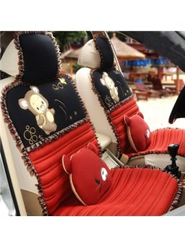 Fantastic Big Bear with Lace Border Punched Sheet Car Seat  Cover
