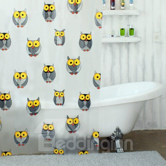 High Quality  Unique Amazing Owls Printing Shower Curtain