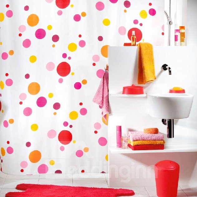 New Arrival Pretty Colorful Bubble Printing Shower Curtain
