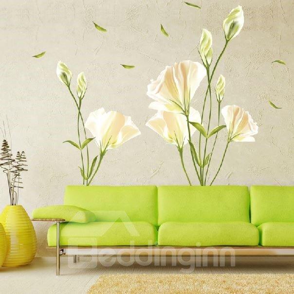 Pretty Fresh Lily Flowers Pattern Wall Stickers