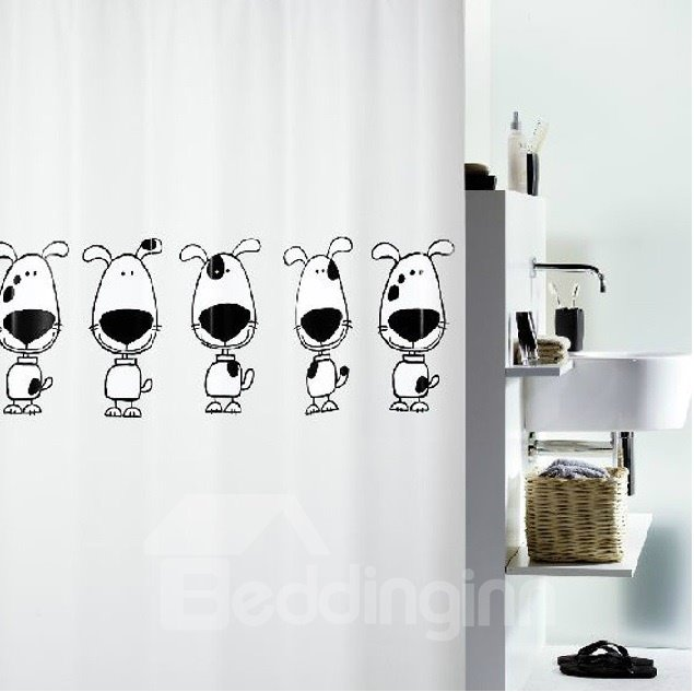 High Quality  Cute Cartoon Dogs Printing Shower Curtain