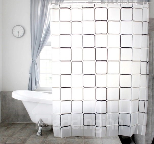 New Style Unique Black And White Checks Shower Curtain