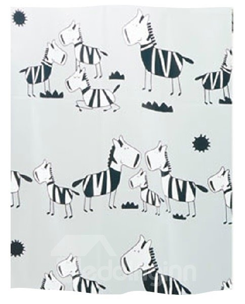 High Quality Unique Cartoon Zebra Printing Shower Curtain