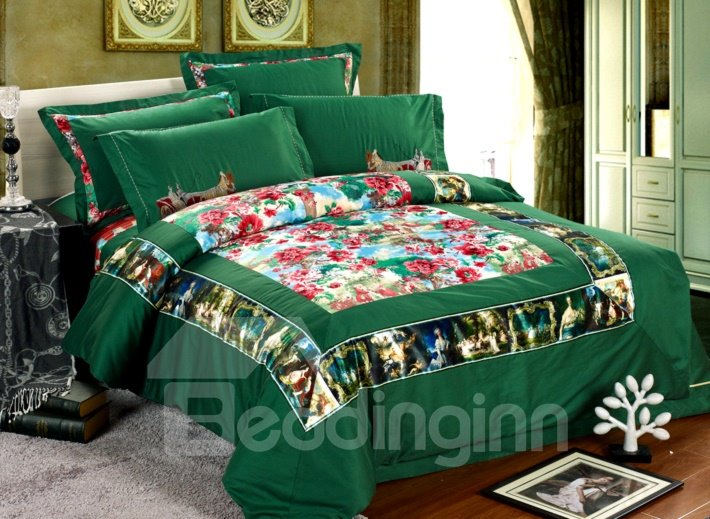 Classical Flower Pattern with Mysterious Border Print Cotton Duvet Cover Sets