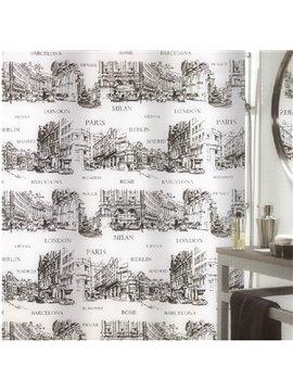 New Style Fashion Urban Landmark Printing Shower Curtain