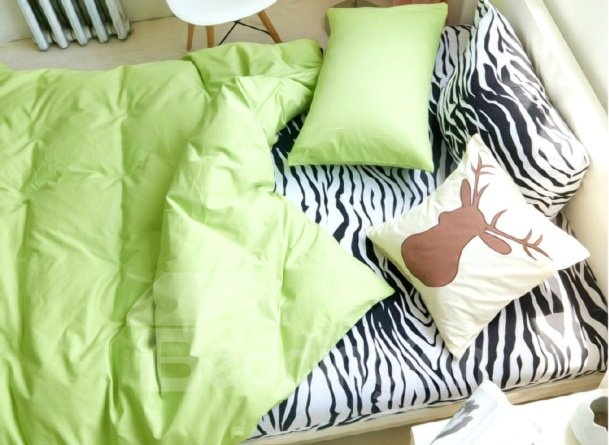 Candy Cover and Zebra Sheet 4-Piece Cotton  Duvet Cover Sets