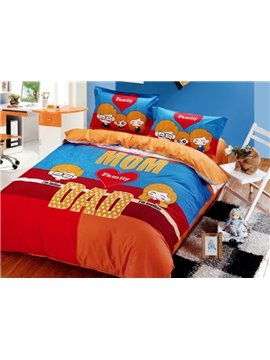 MOM and Dad Print 4-Piece Family Cotton Duvet Cover Sets